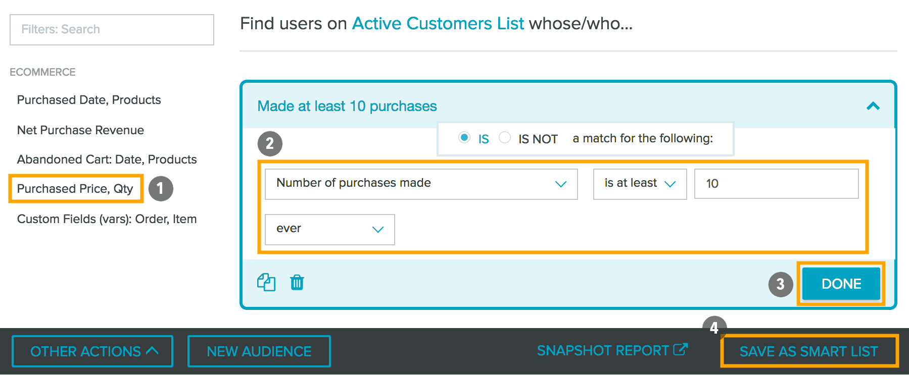 audience builder 10 purchases 4 steps