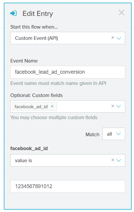 Filtering flow entries based on Facebook Ad IDs