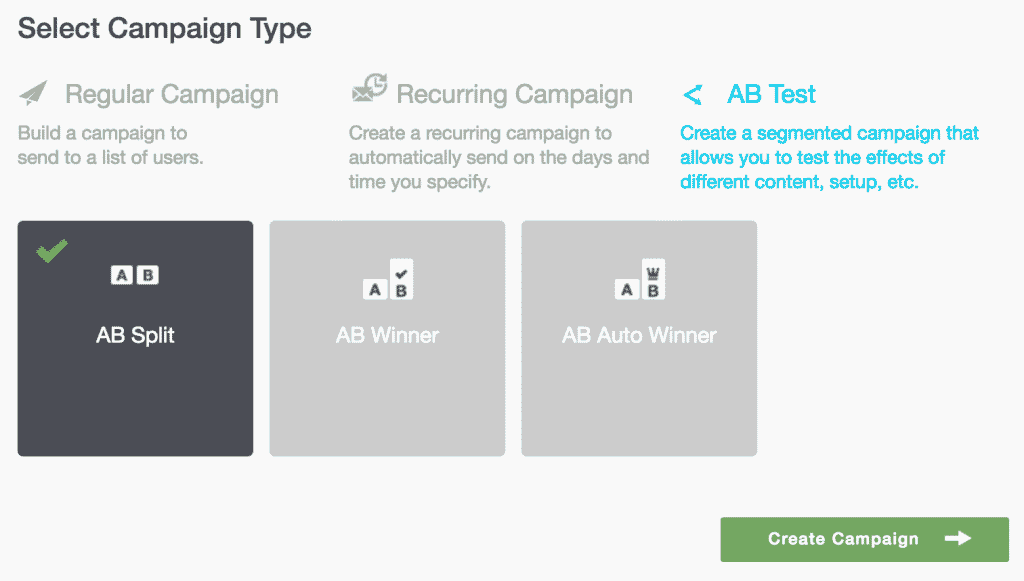 Campaigns 03 - Select Campaign Type with AB Test and AB Split selected