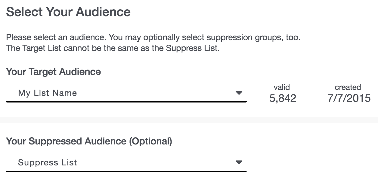 Campaigns 05 - Select Your Audience Drop-Downs