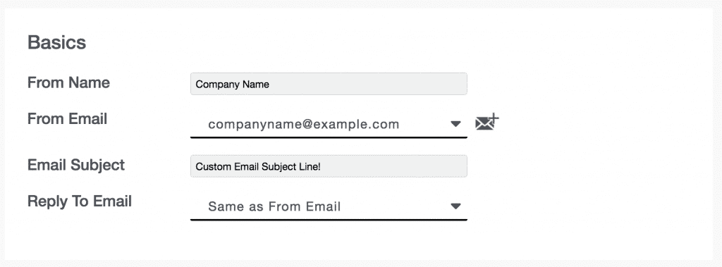 Campaigns 07 - Basics fields (from name, from email, email subject, reply-to email)