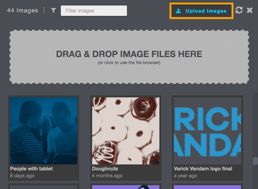 Campaigns 14 - Image library with drag and drop section shown