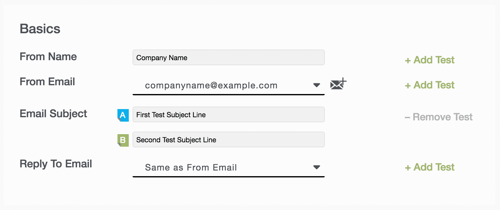 Campaigns 27 - Basics fields (from name, from email, email subject, reply-to email)