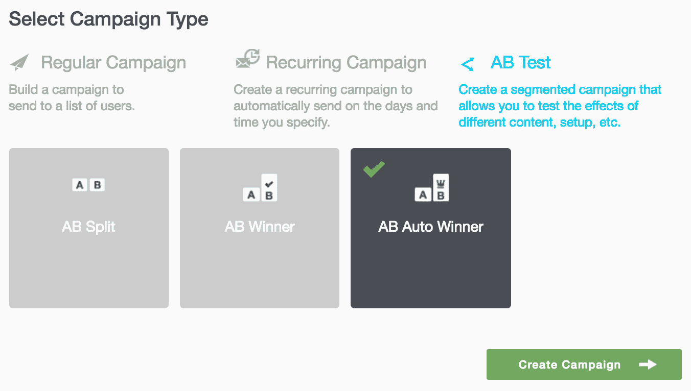 Campaigns 39 - Select Campaign Type AB Auto Winner