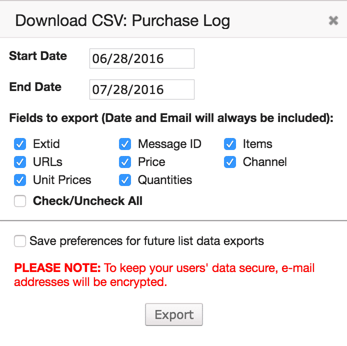 Purchase CSV Export Dialog