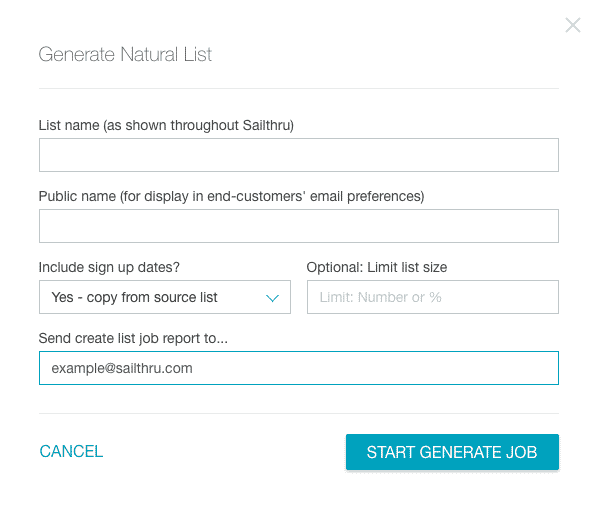Give your Natural List a name and set the options.