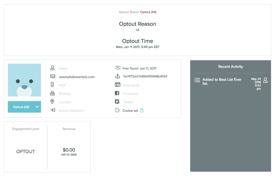 New user profile UI experience.