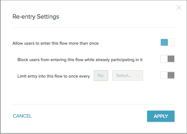 The re-entry settings selector box