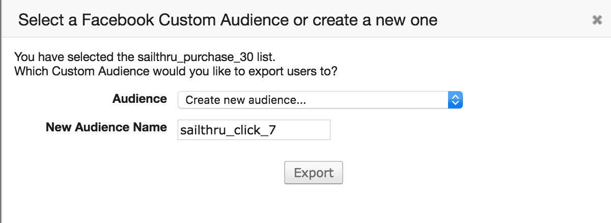 select facebook audience or enter name