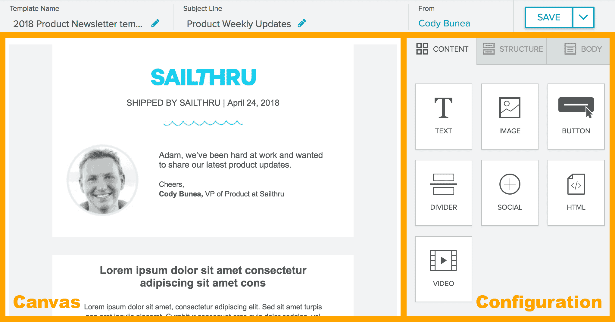 email composer layout