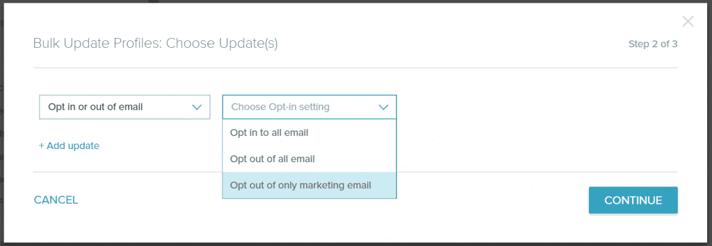 Bulk Update to Only Marketing Emails