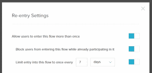 Flow recipe re-entry settings