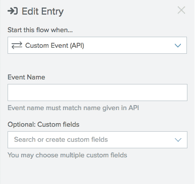 Enter into a flow through a Custom Event Entry.
