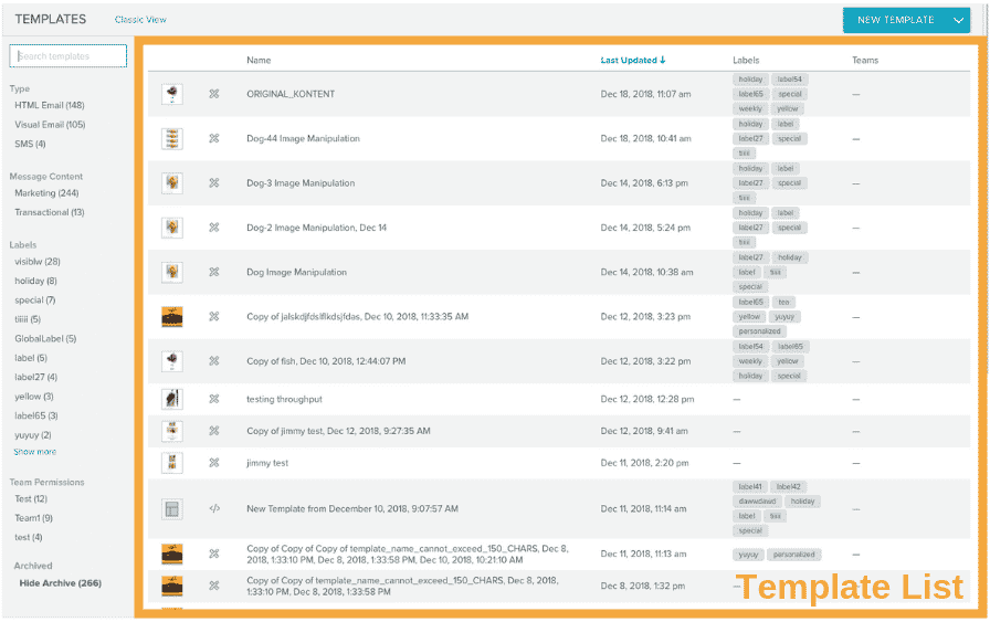 Template list section picked out in orange box.