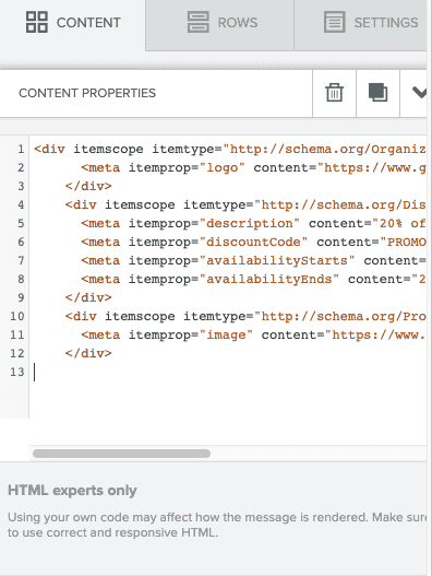 The Content HTML Block settings tab with Google Analytics code