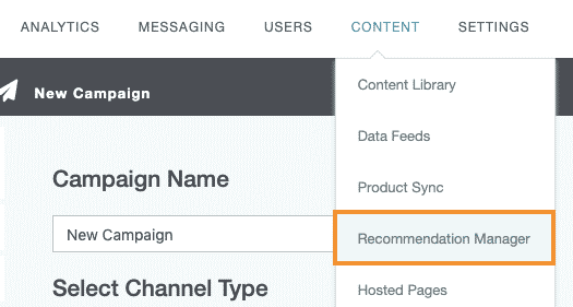 Open recommendation manager from Content