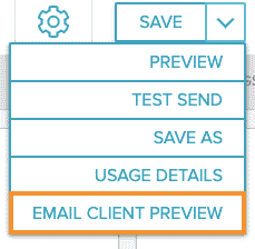 Save menu dropdown with Email Client Preview selected