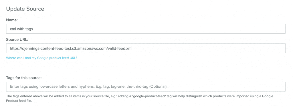 Google Product Sync feed-level tags