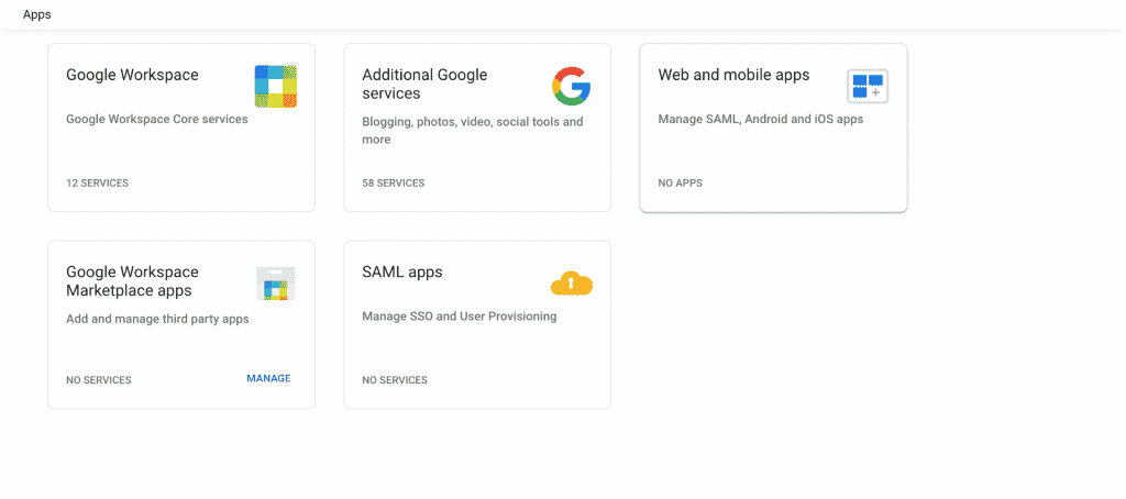 The available apps in Google Workspace. This should include Web and mobile apps.