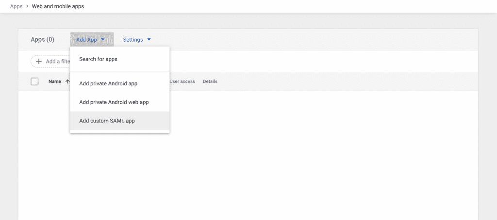 Add custom SAML app selected in gray on the Add App dropdown menu.