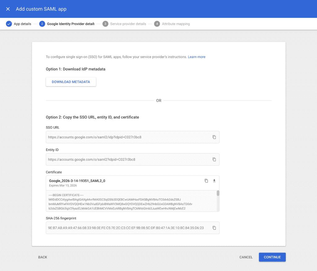 The Google Identity Provider screen.
