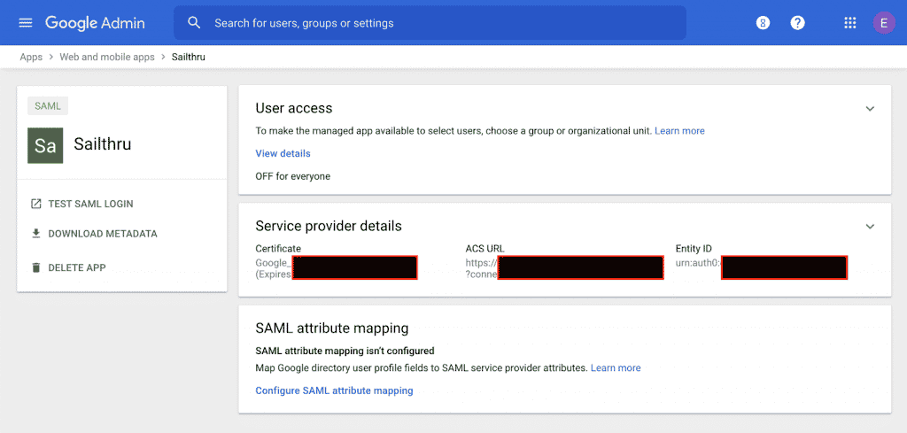 Your app in the Google Admin console.