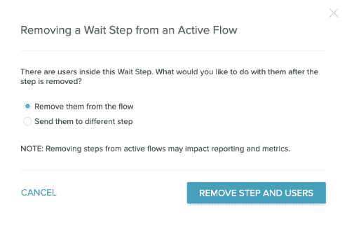 The modal with Remove users from the flow selected.