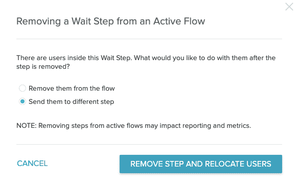 The warning modal with Remove users and send them to a different step selected.