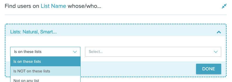 An Audience Builder filter showing the option for Is Not On These Lists.