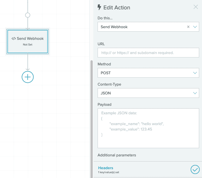 The Lifecycle Optimizer interface for setting a webhook. Shows the Send Webhook Action highlighted.