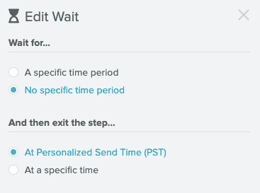 The Edit Wait panel from the Sailthru Lifecycle Optimizer interface with Personalized Send Time selected.