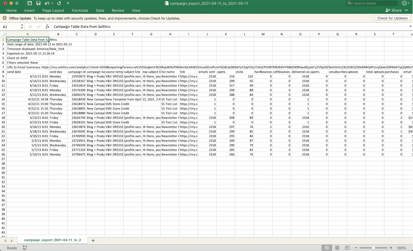 An example CSV file shown in Excel for Mac.