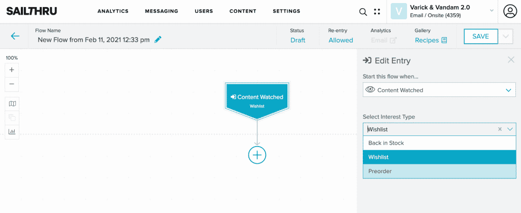 The Lifecycle Optimizer interface showing the selected content watch trigger.