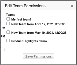 The Edit Team Permissions modal open over the HTML template editor.